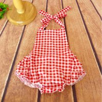 Wholesale Jumpsuit Vintage Wholesale - Vintage Infant Toddler Baby lattice Jumpsuit ,Red White plaid Baby Rompers,girls bubble romper for kids Ready to Ship