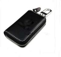 Wholesale Volkswagen Keychain Leather - Black Leather Car Key Holder Case Bag Alloy Keychain For VOLKSWAGEN VW