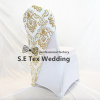 Wholesale Look Fit - Good Looking Bronzing Coated Lycra Spandex Chair Cap Hood Fit For Banquet Wedding Chair Cover Free Shipping