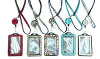 suporte de corrente para telefone celular venda por atacado-Strass bling colhedor de cristal colar de diamantes colar de pescoço com titular de crachá de identificação forrado horizontal e chaveiro para id / chave / telefone celular