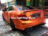 envoltura de coche naranja al por mayor-Alta calidad Mate Satén Cromo Naranja Vinilo Abrigo Naranja Satén Cromo Abridor Película Bubble Free Car Graphics