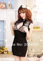 Wholesale Open Crotch Uniform Lingerie - w1031 sexy lingerie black flower open crotch cheongsam dress+g string set sleepwear costume uniform