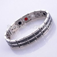 Wholesale Energy Negative Ion Bracelet - Wholesale-Free shipping!stainless steel infrared ray negative ion magnetic germanium energy health bracelet with 4 in 1 bio benifits