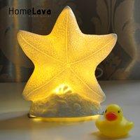 Wholesale Starfish Bedroom - Wholesale- Hot Novelty Lovely Starfish Table Lamp For Bedroom Ceramic Night Light Luminaria de mesa for Children's Room Veilleuse enfant