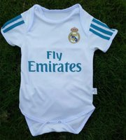 Wholesale Triangle Jumpsuit - kids 17 18 Real Madrid Baby soccer Jerseys Cotton Short Sleeved Jumpsuit Baby Triangle Climb Clothes Loveclily 2017 2018 baby's jerseys