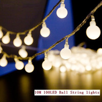 Wholesale String Led Lights Outdoor Wedding - 10M led string lights 100led ball AC220V 110V holiday wedding patio decoration lamp Festival Christmas lights outdoor lighting