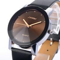 Wholesale Sinobi Elegant - New SINOBI Watch Luxury Brand Diamond Crystal Silver Case Elegant Men Quartz Wrist Gift Dress Men's Leather Strap Watches