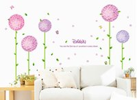 Wholesale Decals For Purple Room - Home decal Purple flower balls sticker bedroom Home decal wallpaper backdrop wall decal decorative stickers decorative stickers