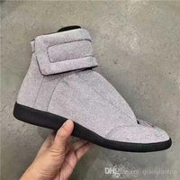 Wholesale Silver Shiny Heels - 2018 men shoes Glitter shiny Genuine Leather High Top Sneaker Fashion ankle boots Flats size 38-47
