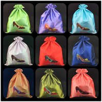 Wholesale Women Travel Shoe Bags - Reusable Satin Cloth Drawstring Bag Shoes Woman High heel Travel Storage Pouch High End Embroidered Packaging Bags with lined Wholesale
