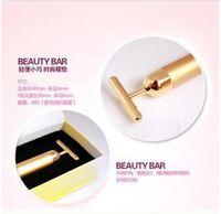 Wholesale Electric Roller Massage - Technology From Japan 24K Beauty Bar Golden Derma Roller Energy Face Massager Beauty Care Vibration Facial Massage Electric
