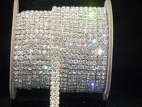 Wholesale Rhinestone Close Chain - Hot ! 2-Row ss16 crystal rhinestone trims close chain silver 10 yard