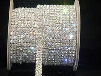 Wholesale Crystal Rhinestone Trims - Hot ! 2-Row ss16 crystal rhinestone trims close chain silver 10 yard