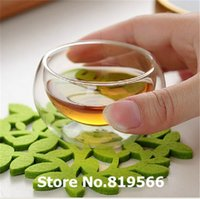 Wholesale Tea Sets Double Glass - Wholesale-hot sale 50ml Double Wall Clear Heat-resistant Glass Layer Tea Cups 10pcs Kung fu Flower Tea&Coffee Water drinkware Cup Set