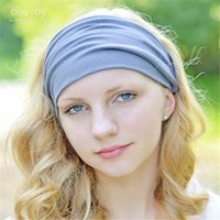 Wholesale Biker Bandanas - New Womens Solid Elastic Wide Stretch Summer Beach Sport Headbands for Yoga Biker Adult Lady Headband 18 colors Cotton Turban Bandana WHA65