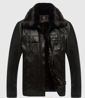 Wholesale Cheap Mens Fur Jackets - Fall-Crazy big promotion! High quality Business Casual leather jacket men Cheap mens leather jackets and coats fur collar coat