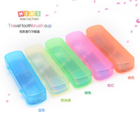 Wholesale Toothbrush Toothpaste Travel Case - Wholesale-Travel essential Portable Candy Colors Hygienic Travel Camping Toothpaste Toothbrush Holder Protect Case Storage Box