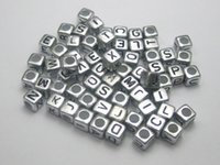 250 Assorted Silver Metallic Acrylic Alphabet Letra Cubo Pony Beads 6X6mm