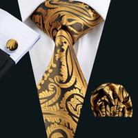 Wholesale yellow neckties for men - Hot Selling Gold Yellow Tie for Men Hankerchief Cufflinks Set Mens Jacquard Woven Business Necktie 8.5cm Width Casual Set N-0988