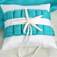 Wholesale Turquoise Flowers Accessories - Bohemia Beach Themed Turquoise And Ivory Wedding Ring Pillow with Sash And Starfish Wedding Accessories
