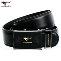 Wholesale Septwolves Free Shipping - SEPTWOLVES Luxury fashion Belt Cool Belts for Men black Business Genuine Leather belts Automatic Buckle Cowskin casual Belts Free shipping