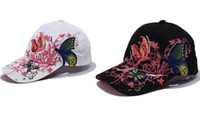 Wholesale Snap Backs For Girls - 2016 New Chinoieserse Cotton Snapback Cap Hat Butterfly Embroidered Pattern Outdoor Baseball Snap Back For Girl Lady Unisex