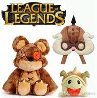 Wholesale Amu Cosplay - League of Legends Tibbers Plush Corki hat cosplay cap Rammus poro stuff plush Annie's Bear plush doll LOL Stuffed Toys Teemo Kennen Amu