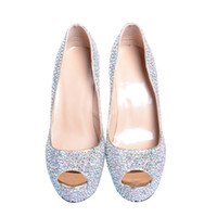 Wholesale Silver Beaded Peep Toe Heels - Custom Make 5.5 cm High Heel shoes Women's Luxury Fashion Special Occasion Shoe Rhinestone Crystal Wedding Bridal Shoe