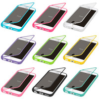 Touch Screen Candy Color Soft TPU Transparente Clear Flip Cover Case para iPhone 8 7 6 6S Plus 5 5S Samsung Galaxy S7 edge S6 Nota 5
