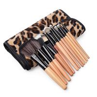 Wholesale leopard eyeshadow - 12Pcs set Professional Bamboo Handle Makeup Brushes Kabuki Powder Foundation Eyeshadow Lip blusher Cosmetic Makeup Tools with Leopard Case