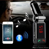 Wholesale Bt Hands Free - BC06 Bluetooth Car Kit Car Speakerphone BT Hands Free Dual FM Transmitter Port 5V 2A AUX-IN Music Player For Samsung iPhone Mobile