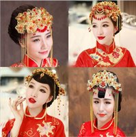 Wholesale Gold Coronet - New Arrival 2016 Cheap Chinese Vintage Coronet Crown Bridal Tiara Hair Accessories Wedding Hair Comb Head Jewelry