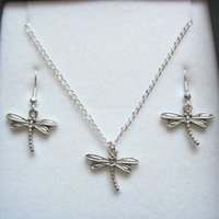 Wholesale Antique Silver Earring - Hot ! Jewelry Set , Antique silver *DRAGONFLY* Gift Set Necklace Earrings Jewelry Set (z577)