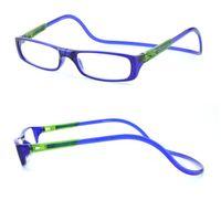Wholesale Clear Reading - 2017 New Bi-color Folding Magnetic Reading Glasses Women Men Plastic Eyeglasses Frame clear gafas oculos degree Reading Glasses