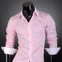 Wholesale Trend T Shirt Designs - Wholesale-Jeansian New Stylish Designed Mens Hot Fashion Trend Dress Casaul Shirt T Free Shipping S M L XL XXL Pink 1073