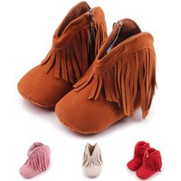 Wholesale Plastic Baby Walker - The New 2017 Baby Girls Boys Tassel Shoes First Walkers Infant Toddler Soft Soled Anti-slip Boots Booties.CX21