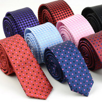 Wholesale Dresses Wholsale - Wholesale- Wholsale 5CM Korean Style Arrow Narrow Thin Neck Tie For Men Plaid Striped Dots Necktie Dress Accessory Fashion Neckwear