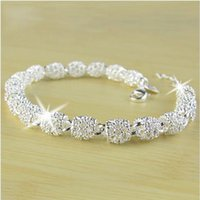 Wholesale Silver Ball Bangle - Newest Women Bracelet Bangle Jewelry Top Quality 925 Sterling Silver Chain Bead Ball charm Bracelets & Bangles Free Shipping