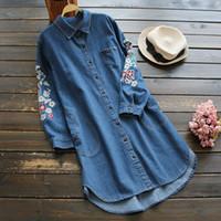 Wholesale Blue Denim Blouse - Winter Shirts for women Denim Floral print Long sleeve Mori girl Women Blouses Blue color