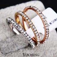 Three Stone Rings stacking cover - Fast Colours Stainless Steel Stack Colors Covered with Crystal Rings for Women VR Vocheng Jewelry
