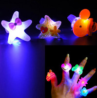 Wholesale Cute Big Rings - Cute Cartoon Blinking LED Light Up Jelly Finger Rings Party Favors For Child Girls Boys Children'Day High Quality HY027