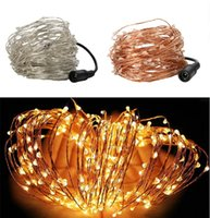 Al por mayor- 20M 66ft 200led Plata / Alambre de cobre LED String Light Starry boda decoración de Navidad con DC 12V adaptador de corriente (EE.UU., UE, AU, Reino Unido Plug)