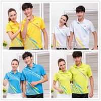 Wholesale Team Sports Apparel Wholesale - Wholesale-New Polyester Badminton Sports Polo shirt Lining Men's and Women's Tennis Polo AAYH041 Team Sports Apparel