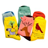 Wholesale Funny Birds Cartoon - NEW Cute Animal Owl Embroidery Women Cotton Socks Lovely Bird Parrot Jacquard Female Pure Color Multicolor Socks Funny Meias Socks