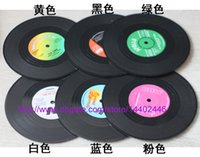 Wholesale 6pcs set sets Vinyl Coasters Retro RPM Record Cup Drinks Holder Mat Tableware Placemat Set
