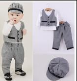 Wholesale Wholesale Pure Cotton Baby Tshirts - Autumn Baby Boy Clothes European and American Fashion Clothing Set Pure Vest+tshirts+pant+hats Four Pieces Kids Handsome Outfits