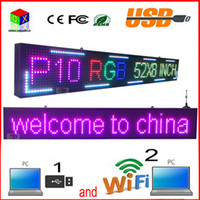 IP45 outdoor advertising media - 52 x8 INCH scan RGB P10 full color LED SIGN Support USB computer WiFi edit for Advertising media Outdoor LED Display