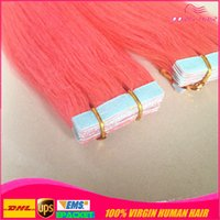 Wholesale Human Hair Extensions Mix Colour - 50% off MIX 5 colours 10pcs tape in hair extension pink red blue purple burg remy human hair tape hair extension free DHL