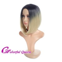Горячие продажи Ombre Blonde Bob Wigs 12Inch Two Tone Black to Blonde Short Straight Synthetic Hair Bob Wigs для женщин