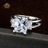 18kgp verlobungsring großhandel-Hochwertige Platin plattierte AAA-Diamantringe mit weißem Quadrat im Quadrat